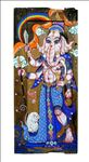 Lord Ganesha, 2014, Tempera and Gold leaf on Wood (Old window), 45 x 100 cm.