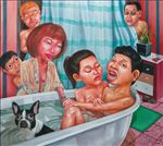 ต่อคิว, Queue up, Anon  Lulitananda, 2012, Oil on canvas, 180x200cm
