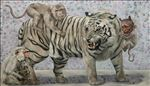 The monkey will be a tiger ลิงจะเป็นเสือ, 2020, Oil on canvas, 110x190 cm.