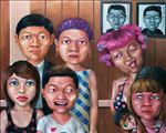 ครอบครัวประหลาด, Freak Family, Anon  Lulitananda, 2012, Oil on canvas, 145x180cm